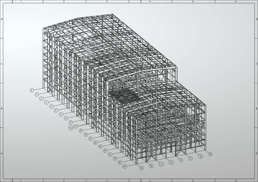 Planung der Stahlkonstruktion für ein Fabrikgebäude