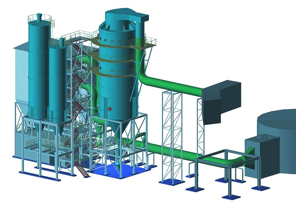 Konstruktionsbüro | Stahlbau für Rauchgasanlage - 3D Modell