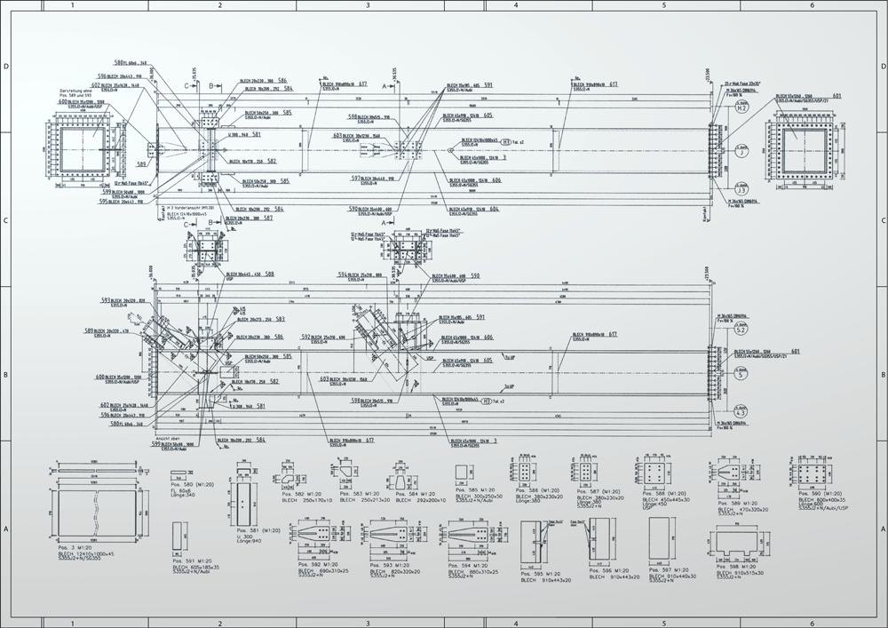Werkstattzeichnung für einen Stahlträger