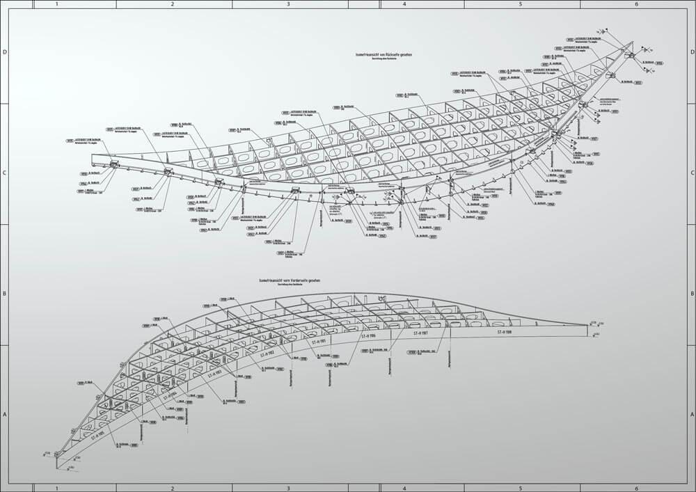 Konstruktionsbüro: Montageübersicht Vordach für ein Hotel
