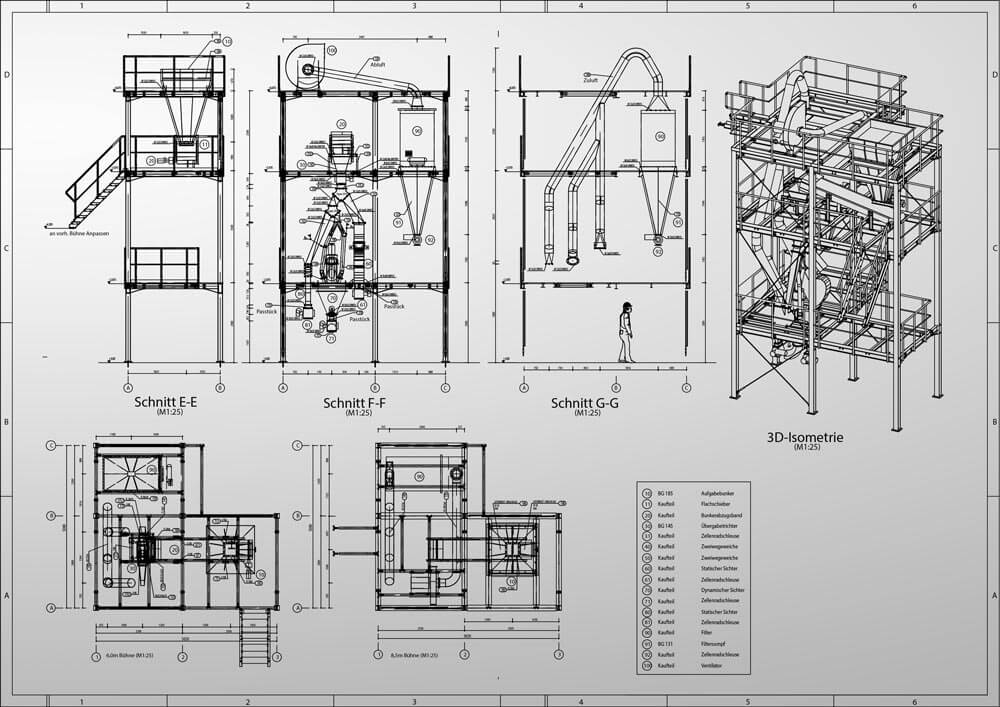 Konstruktionsbüro: technische Zeichnung für einen Versuchsstand